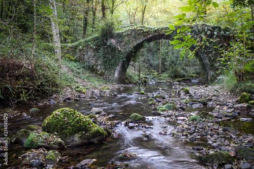 river crossing old roman bridge - 214041879