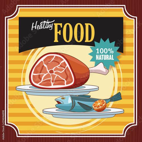 In de dag Vintage Poster Healthy food vintage poster cartoons vector illustration graphic design