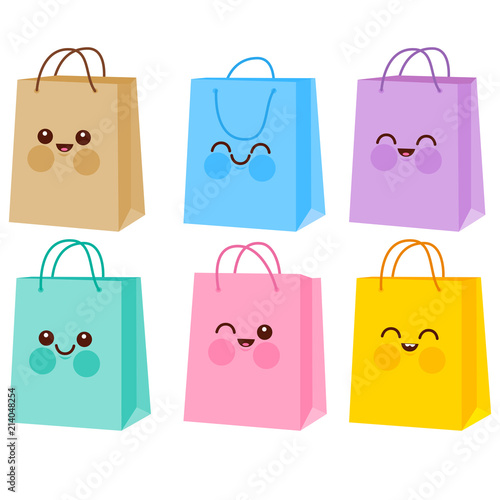 Cute colorful shopping bag characters.