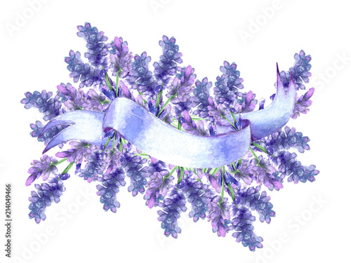 watercolor ribbon with place for inscription. Lavender flowers © avdesinger