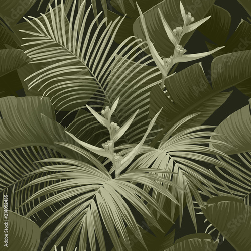 Exotic tropical background with hawaiian plants and flowers. Seamless khaki neo camo pattern with banana and royal palm leaves, bird of paradise flowers. Vector illustration. © Ms.Moloko