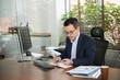 Businessman planning week activities