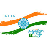 India Happy Independence Day, august 15 greeting card with indian national flag brush stroke and hand drawn greetings. Vector illustration.