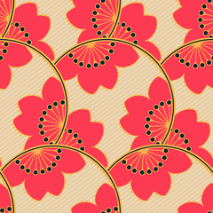 asian seamless pattern with scales of cherry flowers in red and ivory