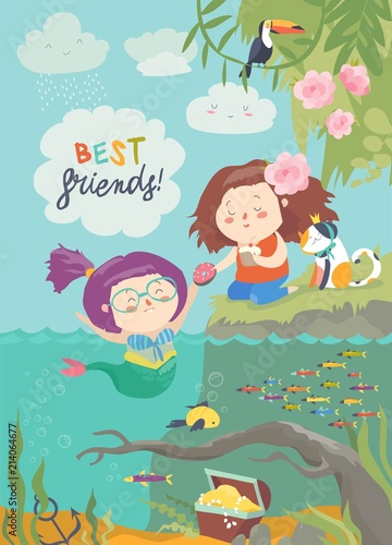 Cute mermaid and girl are best friends - 214064677