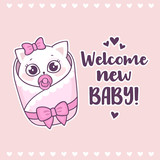 Colorful baby shower with cute girl cat and inscription Welcome new baby. New born baby girl greeting card. Vector illustration