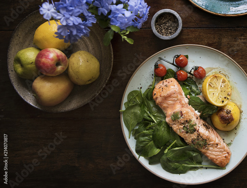 Baked salmon food photography recipe idea - 214070817