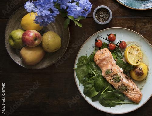 Leinwandbild Motiv Baked salmon food photography recipe idea