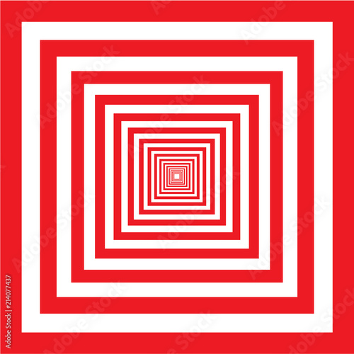 Fototapeta Red and white square illusion