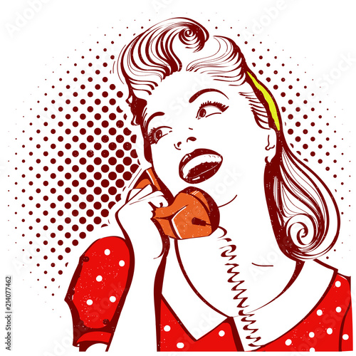 Retro portrait of young woman talking on phone - 214077462