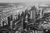 Top view of Dubai city in UAE, black and white