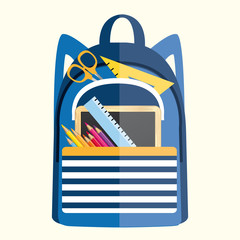 Backpack with school supplies. Back to school vector illustration.