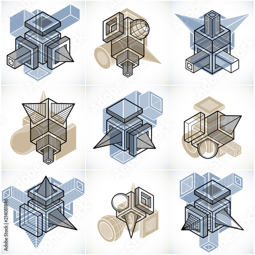 Abstract constructions vector set, dimensional designs collection. - 214081846