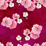 Chinese plum and peony flowers pink color seamless background pattern,vector illustration
