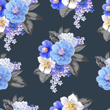 Chinese plum flowers blue color seamless background pattern,vector illustration
