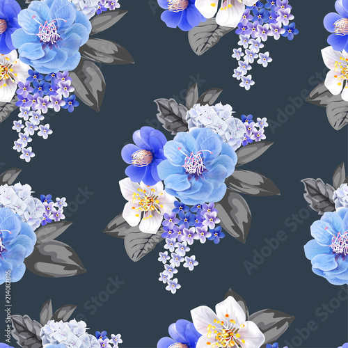 Chinese plum flowers blue color seamless background pattern,vector illustration - 214082805
