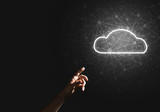 Digital cloud icon as symbol of wireless connection on dark background - 214083226