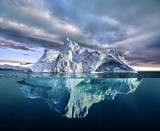 iceberg with above and underwater view - 214084075