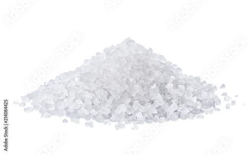 Leinwandbild Motiv heap of salt isolated on white background.
