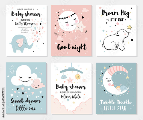 Little bear, elephant, moon and star, cute characters set, posters for baby room, greeting cards, kids and baby t-shirts and wear - 214087226