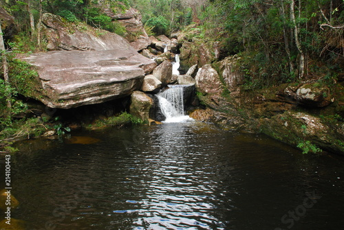 Waterfall with gorge in rocks in the interior of Minas Gerais, Brazil