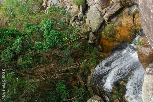 Waterfall with canyon in stones in Brazil