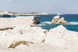 Sarakiniko beach lunar landscape in Milos, Cyclades Islands, Aegean Sea, Greece - 214111836