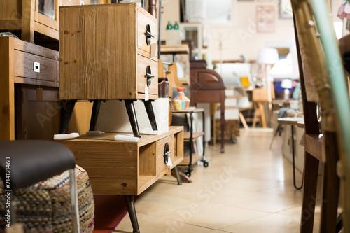 Wide selection of vintage furniture in showroom