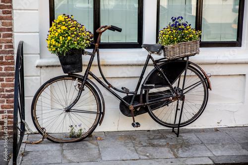 Foto Spatwand Fiets Bike,flowers