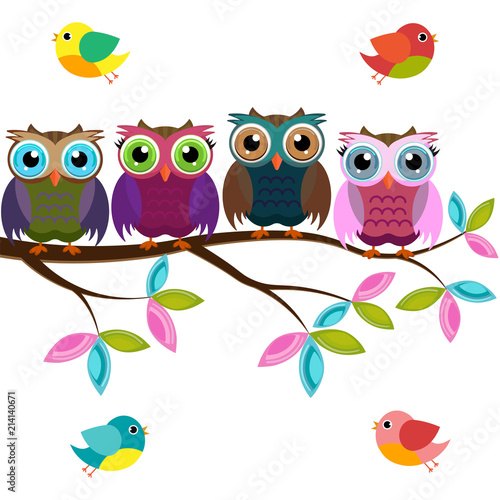 Fotobehang Uilen cartoon four colorful owls on a branch with birds