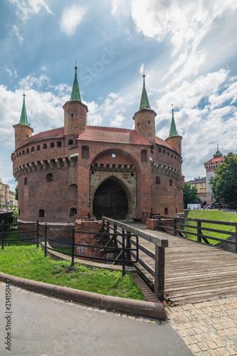 Foto Spatwand Krakau Stare Miasto, Barbican, Old city of Krakow, Poland