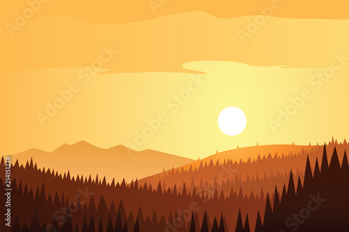 Sun and Forest and Mountains Scene