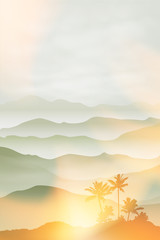 Mountains with palm tree in the fog. Summer background EPS10 vector. © hamara