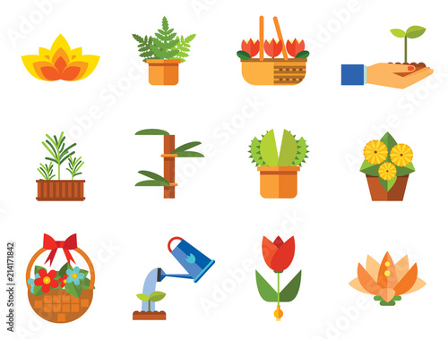 Flower Icon Set Basket With Flowers Wheat Ears Watering Plant In