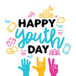 Happy Youth Day greeting card of diversity hands