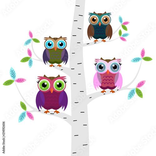 Cztery kolorowe sowy na gałęzi