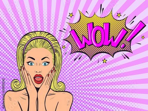 In de dag Pop Art Surprised woman with open mouth. Wow female face. Comic woman. Pop Art vintage vector illustration