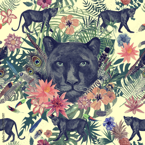Seamless hand drawn watercolor pattern with panther, flowers, feathers, flowers. © PurpleSkyDesign