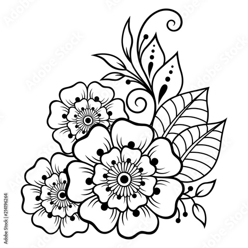Mehndi Flower Pattern For Henna Drawing And Tattoo