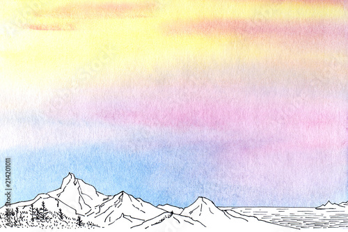 Aluminium Purper Watercolor painted abstract background with black ink line sketch.