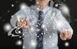 Man touching a virtual technology concept