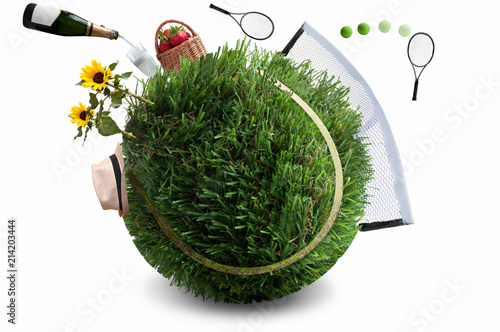 Aluminium Tennis Summer grass tennis concept