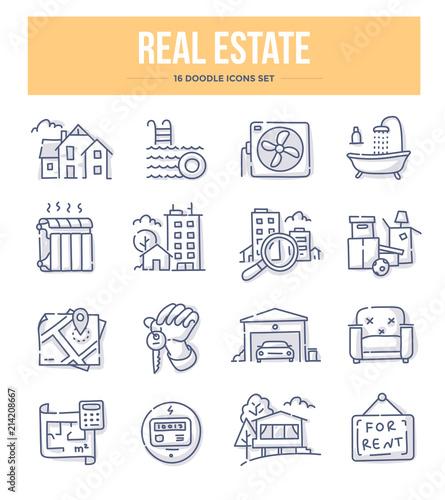 Fototapeta Real Estate Doodle Icons