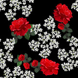 Seamless background with beetifully red roses and small white flowers. Design for cloth, wallpaper, gift wrapping. Print for silk, calico and home textiles.Vintage natural pattern - 214212407