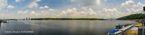 Canvas Kiev Panorama of the Dnieper River in Kiev in the summer. 53 megapixels.