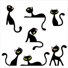 Black Cat Poses Set Vector Illustration Isolated on White © Kristina Jovanovic
