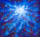 Painting Galaxy in space, Blue cosmic glow, beauty of universe, cloud of star, blur background, illustration artwork canvas. Pattern for astronomy websites,book. - 214242084