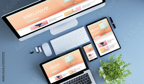 Fototapeta top view blue devices creative tutorials