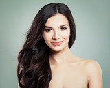 Brunette Hair Woman Smiling. Natural Makeup and Long Healthy Hairdo, Hair care concept