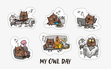 Owl and the day of the owl. Humorous comics about the life of an owl, day and night. Vector illustration